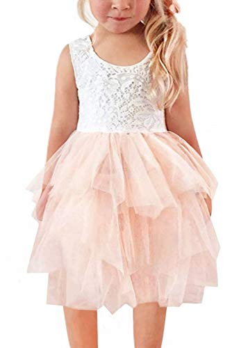 2Bunnies Girl Beaded Peony Lace Back A-Line Tiered Tutu Tulle Flower Girl Dress (No Applique Pink, 7-8YRS) -
