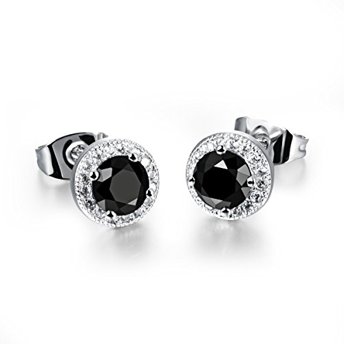Dog Brother 18k Silver Plated Cubic Zirconia Halo Black Round Diamond Stud Earrings - Sale Solid For Gold Uk