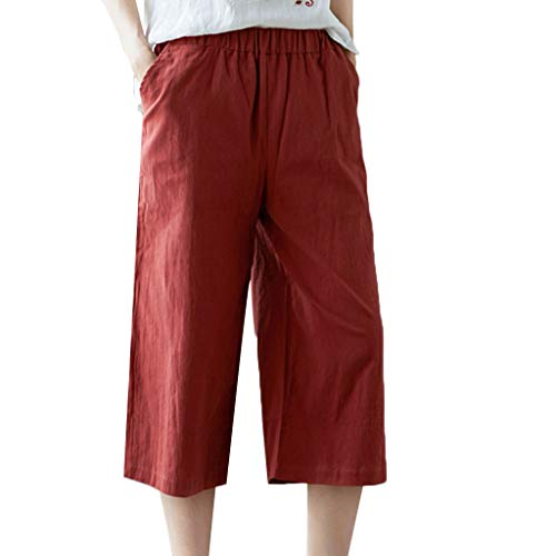 OrchidAmor Womens Casual Elastic Waist Loose Cotton Linen Trouser Cropped Wide Leg Pants Orange