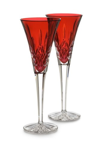 Waterford Crystal Lismore Crimson Flute Pair (Holiday Waterford Giftware)