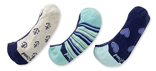 Life is Good Liner Socks (Pack 3), Hearts/Anchors/Blue, One Size