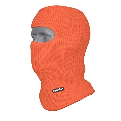 RefrigiWear Double Layer Acrylic Knit Open Hole Balaclava Face Mask, High Visibility Orange One Size Fits All ()