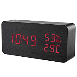 ORIA Digital Alarm Clock, LED Wooden Clock, Wooden Alarm Clock, Voice Control, 3 Brightness Adjustable, 3 Alarm Settings, Temperature and Humidity Dual Power for Home, Office, Bedroom (Red)