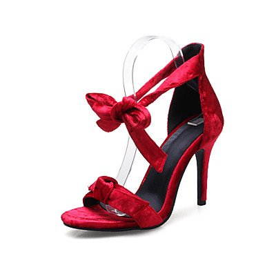 Sandalias Primavera Verano Otoño Zapatos Club Fleece Oficina & Carrera parte & traje de noche Stiletto talón Bowknot Almendra Rojo Negro Ruby