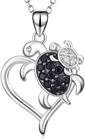 POPLYKE Sterling Silver Mom and Child Sea Turtle Heart Pendant Necklace Gift for Mother Grandma, Health and Longevity