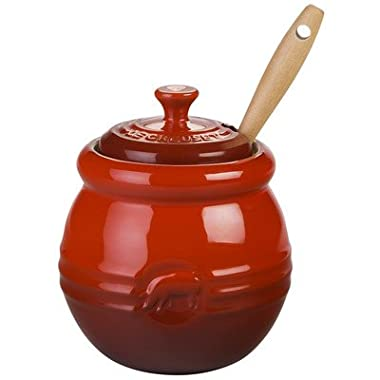 Le Creuset Stoneware 15-Ounce Barbecue Pot with Silicone Brush, Cherry