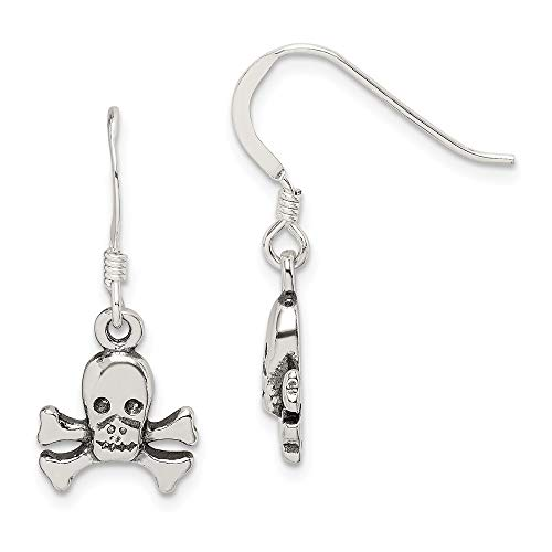 FB Jewels Solid Sterling Silver Skull & Bones Dangle Earrings