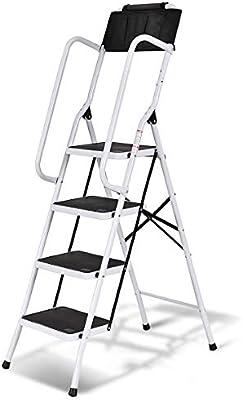 COSTWAY Escalera Plegable de 4 Peldaños Antideslizante Escalera Doméstica de Metal con Bolsa de Herramientas Carga Hasta 150kg para Hogar Oficina Tienda: Amazon.es: Bricolaje y herramientas