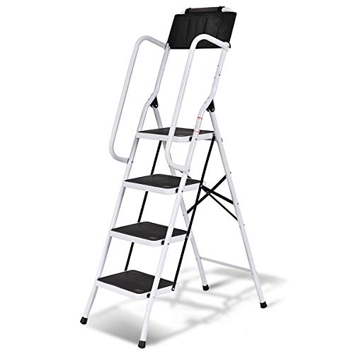 (Giantex 4 Step Ladder Folding Stepladder Step Stool w/Non-Slip Pedal,Handrails and Tool Pouch Caddy 330LB Capacity for Home and Work Use)