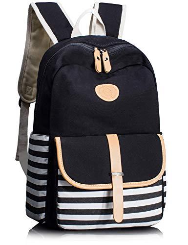 Leaper Thickened Canvas School Backpack for Girls Laptop Bag Handbag Black (College Bags For Girls)