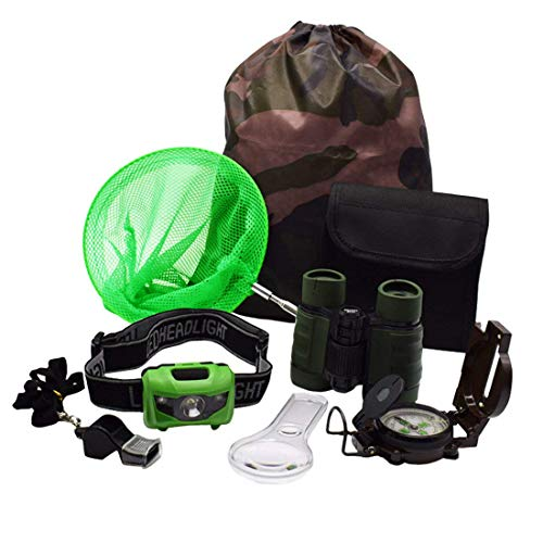 ShaqMars Kids Outdoor Adventure Set :Educational Children's Toys Binoculars, LED Headlamp Flashlight, Compass, Magnifying Glass Whistle Butterfly Net & Backpack(Camo Color) Great Kidz Gift Set (Lanyard Flashing Strap Neck)