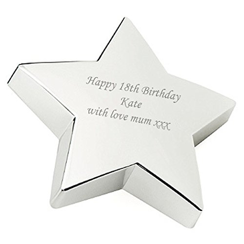 Plated Star Paperweight - Personalised Silver Plated Star Paperweight