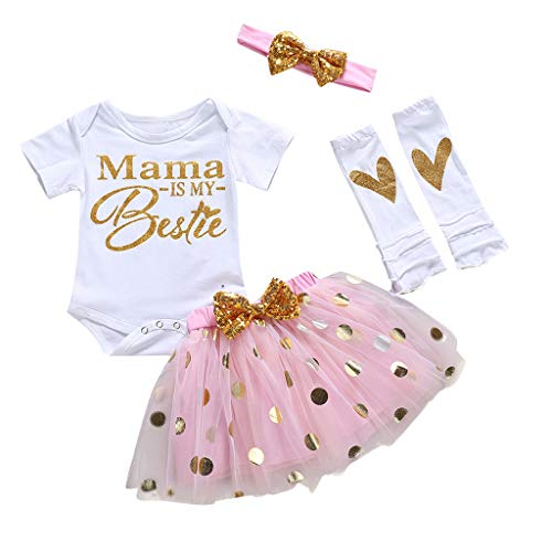 FEITONG Baby Toddler Girls Mother's Day Letter Printed Romper+Tutu Skirt+Headband+Leg Warmer 4Pcs Outfits Set(Pink,12-18M)]()