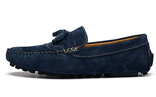 Slip Boat Loafers Leather Mens TDA Manual Blue Driving On Business Tassel Shoes Comfort Fashion Suede Hqx4wa