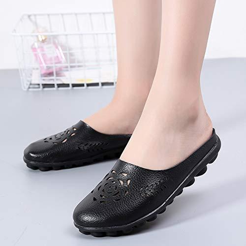 Pelle 2 Guida Comfort Gaatpot Mocassini Colori Scarpe Fiori Donna Da Moda Casuali Flats 11 Sandali Nero qvvw1tZx