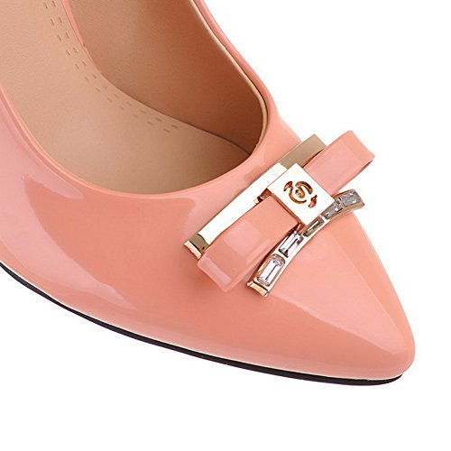 Toe Solid Pumps High Heels WeiPoot PU Shoes Pull Women's Pointed on Pink Closed with Bows wScqX4TR