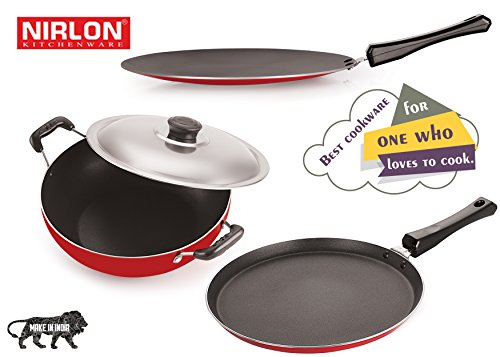 Nirlon Non-Stick Aluminium Cookware Set, 3-Pieces, Red/Black (2.6mm_FT13_CT_DKDM_54)
