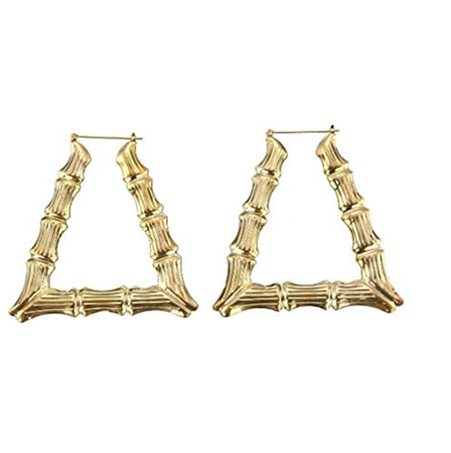 Large Bamboo Joint Hoop Earrings Hip-Hop Golden Big Circle Studs Earrings for Women Punk Party Fashion Jewelry (Trapezoidal)