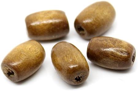 Lot de 50 perles Ovales en Bois 5 x 8 mm Marron foncé