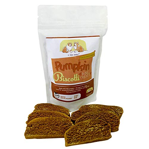 All Natural Baked Dog Treats - Great for Sensitive Stomachs - Pumpkin Biscotti - - Human Grade, Made in USA