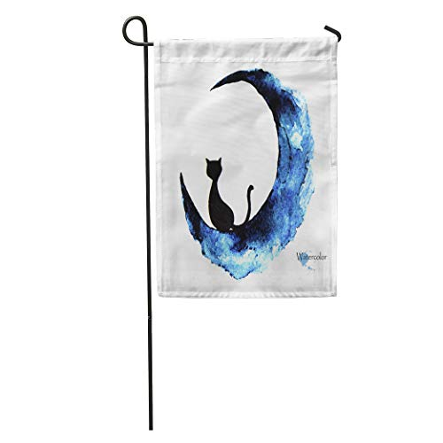 Semtomn Garden Flag Blue Halloween Watercolor Painting of Black Cat Sitting Moon Abstract Home Yard House Decor Barnner Outdoor Stand 12x18 Inches -