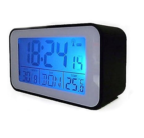 Reloj despertador radiocontrolado con Termómetro Despertador (sn4491) en negro: Amazon.es: Hogar