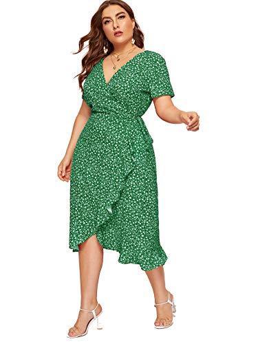 (Milumia Women Plus Size Polka Dot Wrap V Neck High Waist Maxi Dress Green 1X)