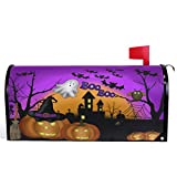 Wamika Happy Halloween Pumpkin Gost Trick or Treat Mailbox Covers Large Ghost Owl Bat Castle Boo Purple Magnetic Mail Cover Letter Post Box Oversized 25.5' L X 21' W