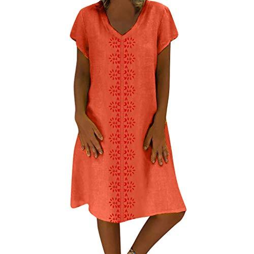 Sunhusing Women's Summer Cotton Linen Print V-Neck Short Sleeve Dress Loose Casual Boho Long Maxi Dress Orange