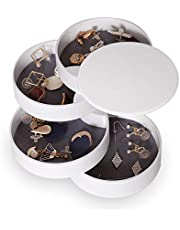 CONBOLA Jewelry Organizer, Small Jewelry Storage Box Earring Holder for Women, 4-Layer Rotating Travel Jewelry Tray Case with Lid for Bracelets Rings Bracelets (White)