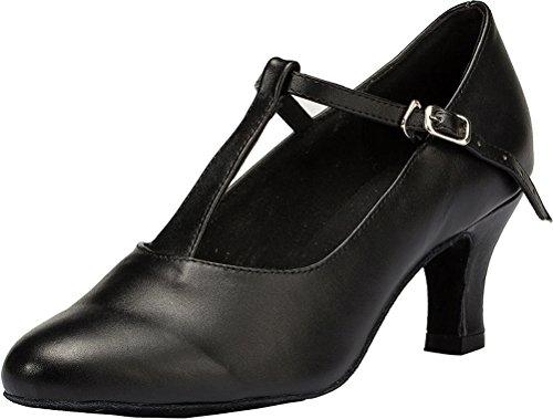 Salabobo L041 Womens Comfort Latin Tango T-bar Leather Professional Dance Shoes Black FHQ6ELTX