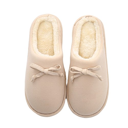 Btrada Womens Mens Cute Bowknot Couple Slippers, Fluffy Cozy Fur Lined Slippers, Anti-Slip Home Slippers Khaki