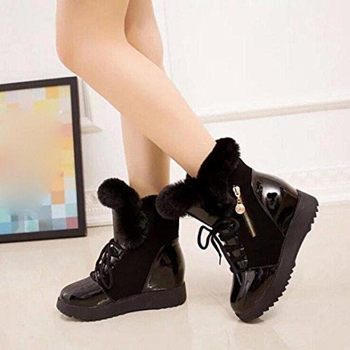 Frauen weichen Schnee Stiefel Winter Runde Zehe flache rutschfeste Ankle Schuhe Gefüttert Plüsch Schwarz