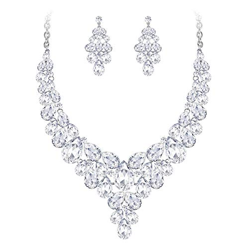 BriLove Women's Wedding Bridal Crystal Multi Teardrop Cluster Statement Necklace Dangle Earrings Set Clear Silver-Tone (Vintage Clear Rhinestone Necklace)