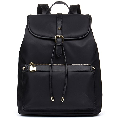 BOSTANTEN Water Resistant Backpack Purse Travel Backpacks Nylon School Bag for Women Black