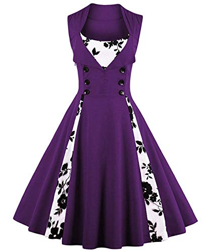 ANCHOVY Womens Rockabilly Swing Dress 1950s Retro Sleeveless Floral Print C62 (Purple Floral, 4XL)