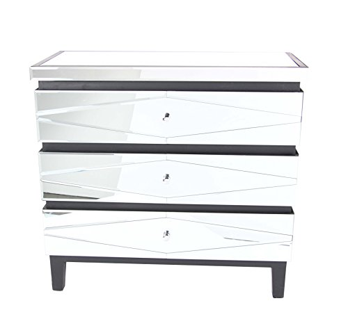 Deco 79 56691 3-Drawer Mirrored Wooden Chest, Gray/White/Reflective by Deco 79