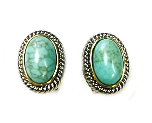 Turquoise Clip Earrings - Two-tone Rhodium Plated Oval Turquoise French Clip Earrings with Rope Border