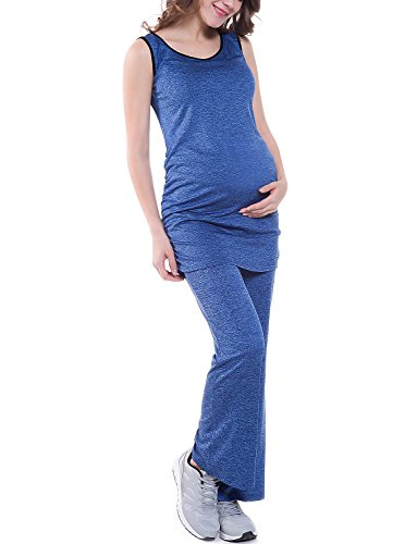 Bhome Women's Fold Over Waist Stretch Yoga Pants Boot Cut Flare Leg Workout Maternity Leggings Navy Blue L by Bhome (Image #3)