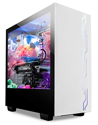 iBUYPOWER Snowblind S 19″ Translucent Customizable Side-Panel LCD Display 1280 x 1024 Resolution Mid-Tower Desktop Computer Gaming Case 3 x 120 Millimeter Fans SECC Steel, White