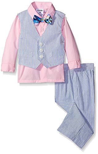 Boys Seersucker Suit - IZOD Seersucker Vest Set, Pink Candy, 3-6 Months
