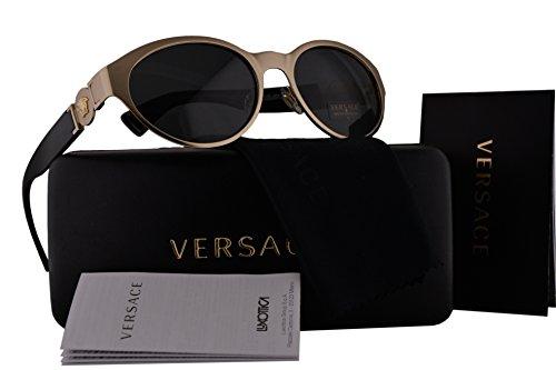 Versace VE2179 Sunglasses Brushed Pale Gold w/Gray Lens 133987 VE - Versace Sunglasses 4275