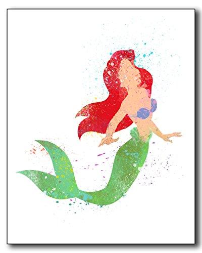 Ariel The Little Mermaid Disney Princess Watercolor Photo Prints - Unique Kids Wall Art