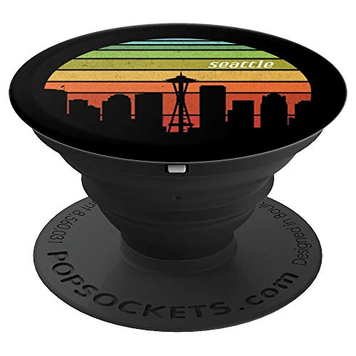 Vintage Seattle Washington Cityscape Retro Graphic - PopSockets Grip and Stand for Phones and Tablets