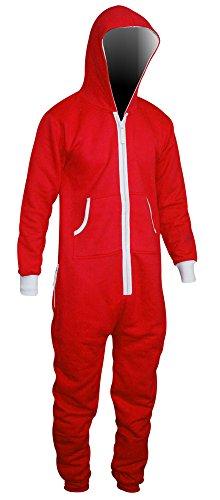 SkylineWears Men's Onesie Playsuit Unisex Jumpsuit Red X-Large