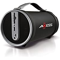 AXESS SPBT1033GY Portable Bluetooth Indoor/Outdoor 2.1 Hi-Fi Cylinder Loud Speaker with Built-In 4 Sub and FM Radio, SD Card, USB, AUX Inputs in Gray