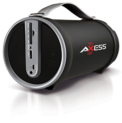 AXESS SPBT1033GY Portable Bluetooth Indoor/Outdoor 2.1 Hi-Fi Cylinder Loud Speaker with Built-In 4