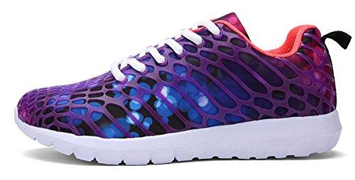 ECOTISH Unisex Fashion Camouflage Mesh Schuhe Casual Flat Sneaker Leichte Walking Athletic Schuh Breathable Laufschuhe (Tag Size 40 - UK Size 6.5, Lila)