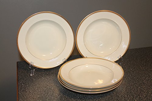 Fitz & Floyd Classique d'Or White SET/5 Rimmed Soup/Cereal Bowls ~ STUNNING~ (Gold Ring,Verge and (Trim Verge)