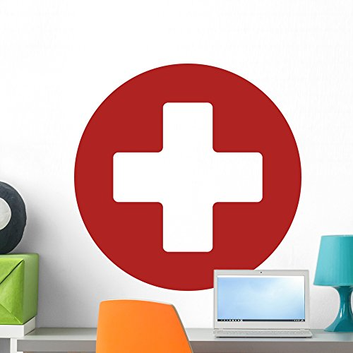 Wallmonkeys First Aid Medical Sign Wall Decal Peel and Stick Vinyl Graphic (24 in H x 24 in W) WM368890
